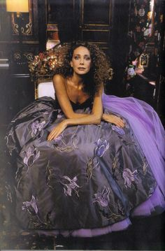 Marisa Berenson wearing Ungaro couture.  Photo by Jean-Marie Perier for Elle, 1995.