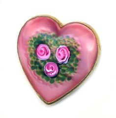 Brooch Early 20th C. Lampwork Overlay Satin Glass in Heart-shape Brass ~ R C Larner Buttons at eBay & Etsy        http://stores.ebay.com/RC-LARNER-BUTTONS