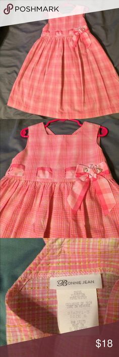 Little Girls Bonnie Jean Pink/White Plaid Dress Little Girls Bonnie Jean Pink/White Plaid Dress. Size 6. 91% Colton/9% Polyester. Bonnie Jean Dresses Casual