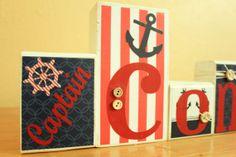 Personalized Nautical Wood Blocks -Letter Blocks- Nautical Nursery- Nautical Party Decor on Etsy, $4.00