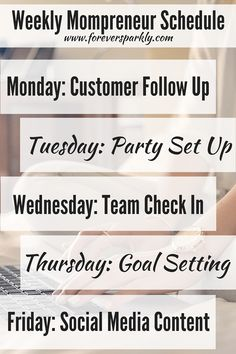 Keep it simple with this weekly mom schedule. Designate certain days of the week for taking care of your direct sales or home based business so you have the time to enjoy being a mom! Click to read all of the ways you can balance being a mom and mompreneur!