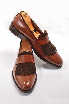 Handmade Wooden Brown Loafer Men Shoes
