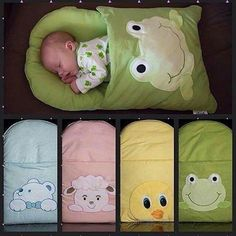 Saco de dormir bebê - HOW CUTE! Sleeping Bag for Baby with a really cute applique! - I think this might be pretty easy to make for a gift or for your own baby! Quilt Baby, Baby Sewing Projects, Sewing For Kids, Sewing Tips, Diy Projects, Diy Bebe, Baby Crafts, Baby Patterns, Kids And Parenting