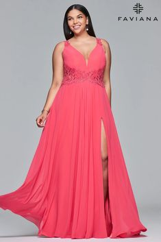 Faviana 9433 Lace Peek-a-boo Panel A-line Long Formal Dress | Dress Outlet – The Dress Outlet Vestidos Plus Size, Plus Size Prom Dresses, Long Dresses, Faviana Dresses, One Shoulder Prom Dress, Blue Bridesmaid Dresses, Bridesmaids, Chiffon Material, Formal Looks