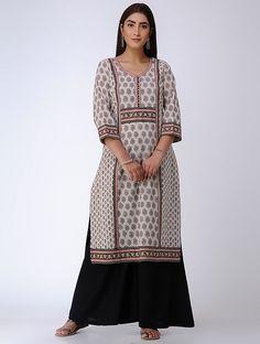 65d769690028c Beige-Black Bagh Printed Paneled Cotton Kurta