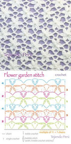 Crochet: flower garden stitch pattern. Pin shows stitch and chart. Click through to YouTube video tutorial ~ in Spanish. Más