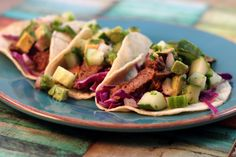 Dinner Idea - Steak Tacos with Cucumber-Avocado Salsa - fresh english cucumbers and avocado cool down the heat of the sirloin steak in these delicious tacos