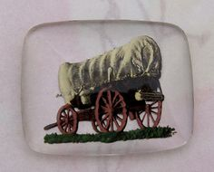 vintage glass reverse painted intaglio covered wagon cabochon 28x22mm - f4099... ...Hand painted on the back in Western Germany in the 1940's