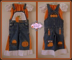 Cutest Pumpkin in the Patch Upcycle Overall Set by stewiecakes, $30.00