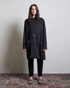 Isabel Marant / Ega Collarless Coat Isabel Marant Étoile / Ivan Corduroy Pant Isabel Marant Étoile / Fell Moccasin #lagarconneatelier