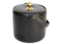 Vintage Black Patent Leather Alligator Print Ice Bucket