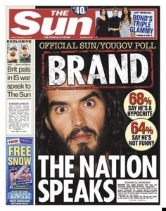 Front cover of The Sun newspaper, Friday 5th December.