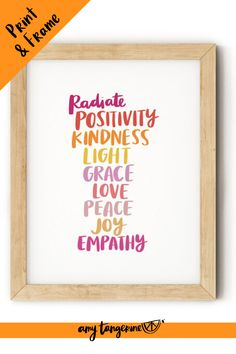 Download and print this colorful inspirational quote from Amy Tangerine.  This colorful hand lettered quote would make beautiful colorful wall art for your home office or craft room or any where in your home! kindness quotes | quotes about kindness | hand lettering quote #amytangerine #quotes #printables