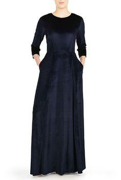 I <3 this Jewel neck velvet maxi dress from eShakti