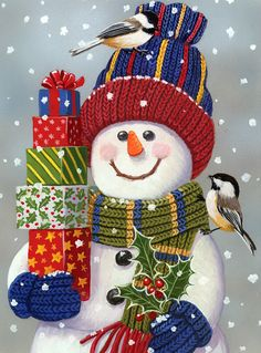 Bits and Pieces - 300 Large Piece Jigsaw Puzzle for Adults - Snowman with Presents - Snowman Christmas Puzzle - by Artist William Vanderdasson - 300 pc Jigsaw Christmas Jigsaw Puzzles, Christmas Puzzle, Christmas Snowman, Christmas Crafts, Christmas Decorations, Christmas Ornaments, Christmas Holiday, Cross Stitch Pictures, Frosty The Snowmen