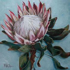 - Crown of colour Protea Art, Protea Flower, Flower Artwork, Art Flowers, Art Studio Room, Australian Native Flowers, Canvas Painting Tutorials, Colorful Drawings, Beautiful Artwork