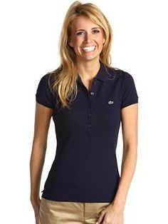 Lacoste Women's Short Sleeve 5 Button Stretch Pique Polo- Navy (Medium)  Lacoste.