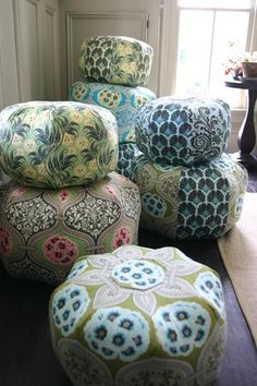 Love these Amy Butler poufs! Had 2 custom ones made for McKenna's Amy Butler-inspired playroom.