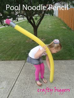 Crafty Biggers: Pool Noodle Pencil (that writes!) Would be fun for a photo prop or decoration at a party!