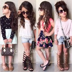 I love the first outfit Cute Little Girls Outfits, Little Girl Fashion, Toddler Fashion, Toddler Outfits, Kids Fashion, Fashion Niños, Cute Fashion, Outfits Niños, Fashion Outfits