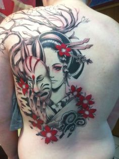 WOW! Red Flowers and Geisha Tattoo On Back