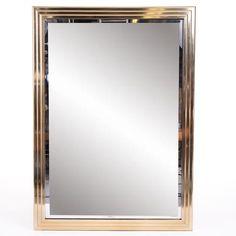 "Modern Stepped Edge Brass Framed Mirror w/Beveled Mirror at DecorNYC $649 32"" x 44"