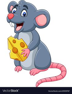 Cartoon mouse holding slice of cheese Royalty Free Vector Cartoon Cartoon, Cartoon Stickers, Cartoon Characters, Art Drawings For Kids, Drawing For Kids, 3d Pencil Drawings, Inkscape Tutorials, Funny Mouse, Mouse Pictures