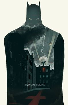Batman Begins, one of a trio of creatively designed Dark Night trilogy posters by illustrator Michael Rogers.