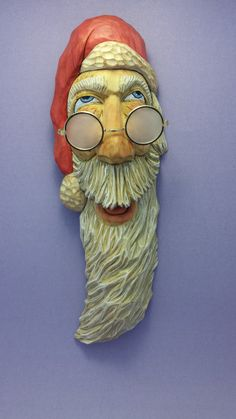 Hand carved Santa Claus frosted glasses by OldBearWoodcarving