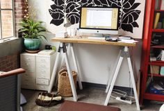 Sawhorse Desk with White Legs