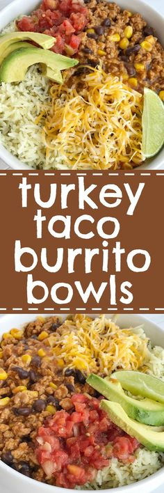 Turkey Taco Burrito Bowls are a family favorite meal! Let everyone build their own bowl for a fun do it yourself dinner. Turkey taco meat simmers on the stove top to make these burrito bowls so flavorful and a quick, 30 minute dinner that everyone will lo