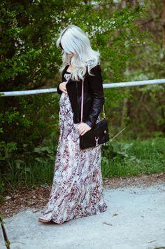 Maternity Style | Flowy Maxi & Leather Jacket