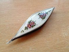 Vintage Antique Silver and Enamel Sewing Tatting Lace Makers Shuttle Bobbin
