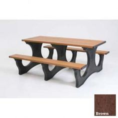Polly Products Polly Tuff Easy Access 6' Picnic Table, Brown Top/Black Frame