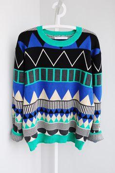 GEOMETRIC Triangle pattern sweater leon blue