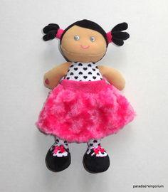 Baby Starters Plush Doll Pink Minky Swirls Dark Skin Tone Black Hair  #babies #babythings
