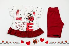 Set of white short dress and red shorts with ladybug print. Will keep your baby girl the happiest. The material is 100% cotton and the color after washing stays the same. But most important is that these dress and shorts are easy to wear and easy to pay.