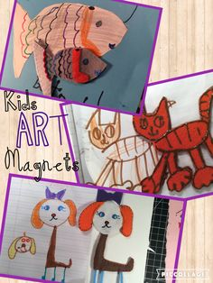 kids art made into magnets #diy toys #art into toys #craftyconjuring/youtube