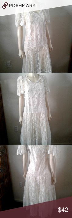 """90s as 30s lace Overlay Dress Pullover lace netting dress. Dress is shown with a slip underneath.  Only the overlay is for sale.  34"""" Bust  49"""" Length  In very good pre-owned condition. Vintage Dresses"""