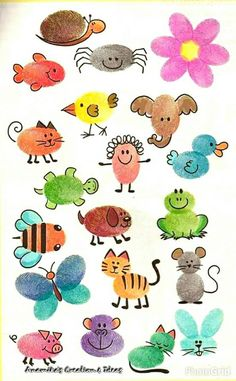 Thumbprint animals. Unassigned theme week. Sensory.
