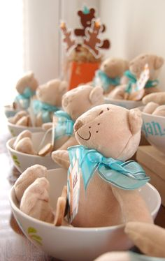 party favors for baby shower. Personalized bowl and a mini teddy bear!