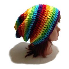 Rainbow Slouchy Hat, Ombre Rainbow Hat, Rainbow Beanie, Rainbow Hat,... ($28) ❤ liked on Polyvore featuring accessories, hats, rainbow, rainbow beanie, hipster beanie, hipster hat, beanie cap hat and beanie caps