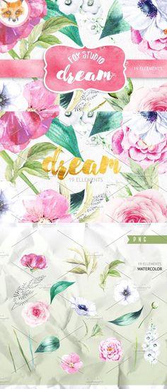 Flower Clipart. Wedding Card Templates