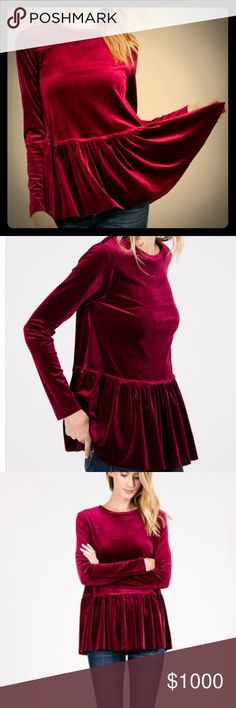 Velvet Peplum Soft Velvet top with ruffles. Color is burgundy. Awesome holiday top! Stretchy fabric. True to size. For tighter fit, order one size down. Wanna B Tops Blouses