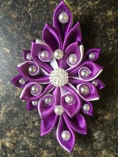 Kanzashi purple white ladies g