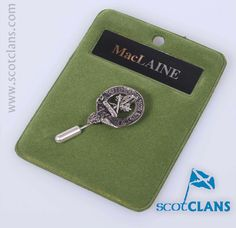 Pewter tie pin with the MacLaine clan crest - from ScotClans