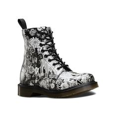 Dr. Martens Pascal 8 Boots ($150) ❤ liked on Polyvore featuring shoes, boots, black paint slick backhand, men, black bootie, black leather bootie, ankle boots, short leather boots and sports shoes