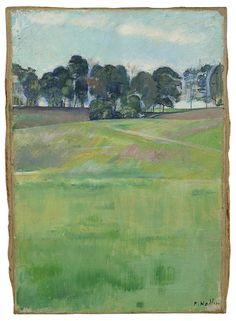 Ferdinand Hodler (Swiss, 1853-1918)  Meadow landscape with tree series (Wiesenlandschaft mit Baumreihe), 1893-1894  Oil on canvas,  35,4 x 24,5 cm