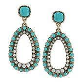 Carolee Antique Gold-Tone Turquoise Bead and Imitation Pearl Clip-On Drop Earrings