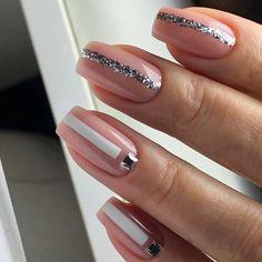 Short Nail Designs in 2020 Perfect Nails, Gorgeous Nails, Pretty Nails, Nail Manicure, Gel Nails, Acrylic Nails, Square Nail Designs, Short Nail Designs, Romantic Nails
